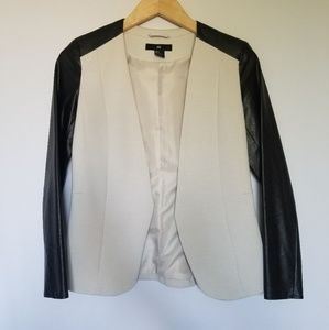 H&M blazer black leather sleeves cream color 4